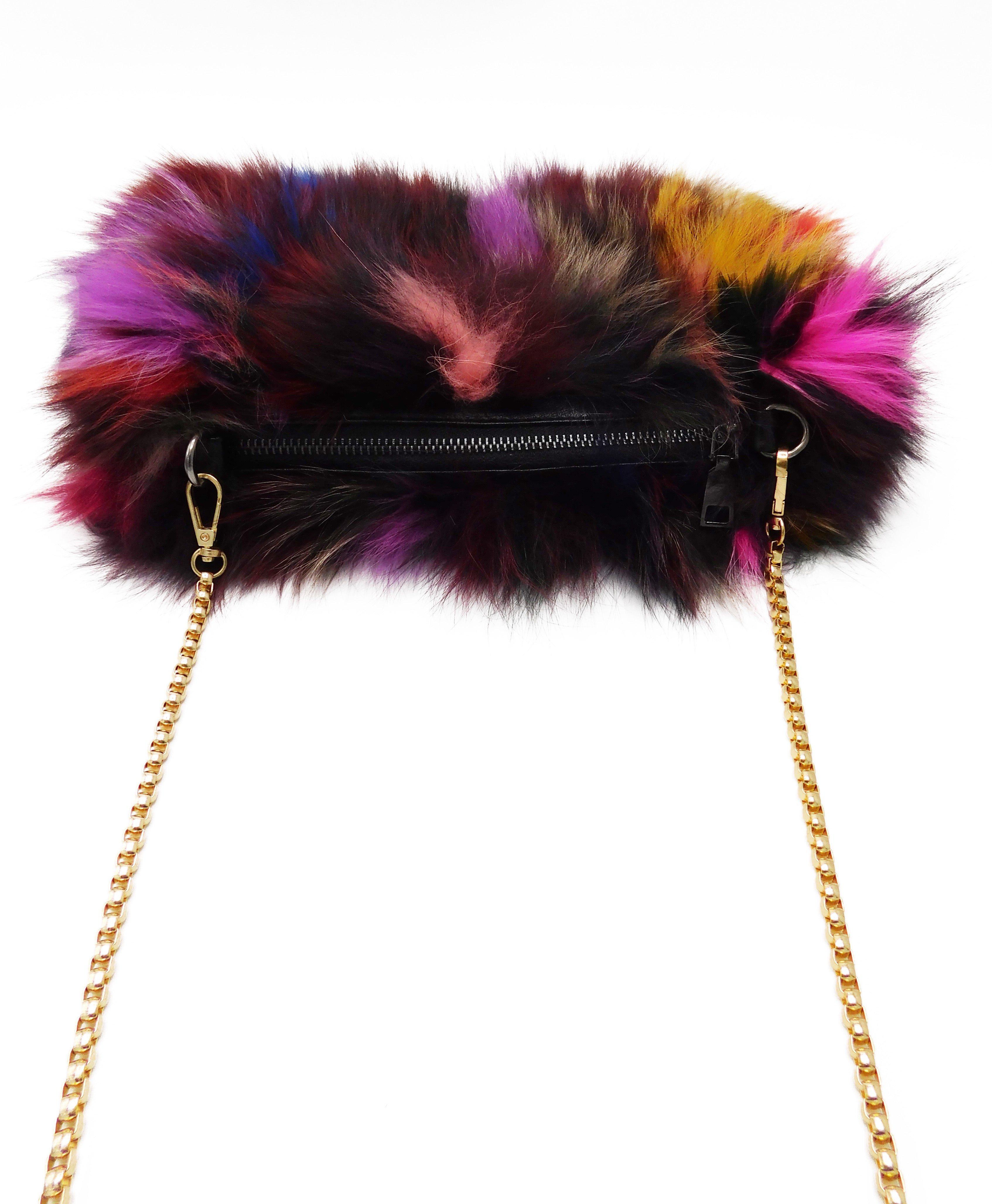 Multicolor Fox Fur Muff Handbag with Gold Chain - paulamarie