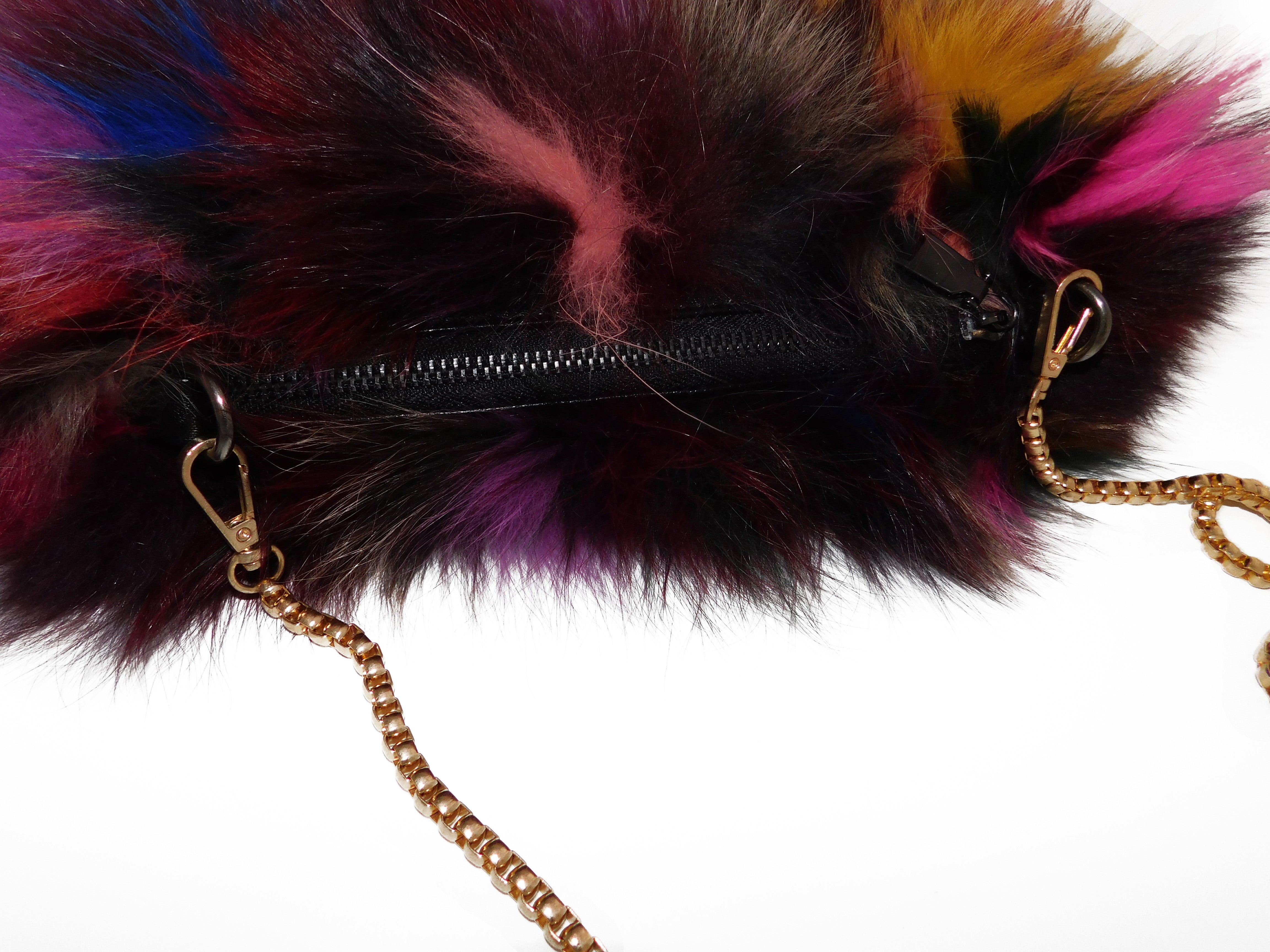 Multicolor Fox Fur Muff Handbag with Gold Chain - paulamariecollection