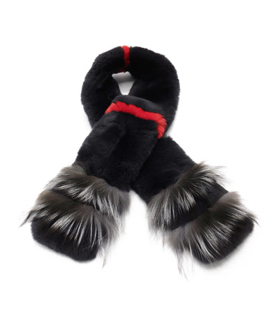 Rex Rabbit Scarf with Silver Fox Tips - paulamarie