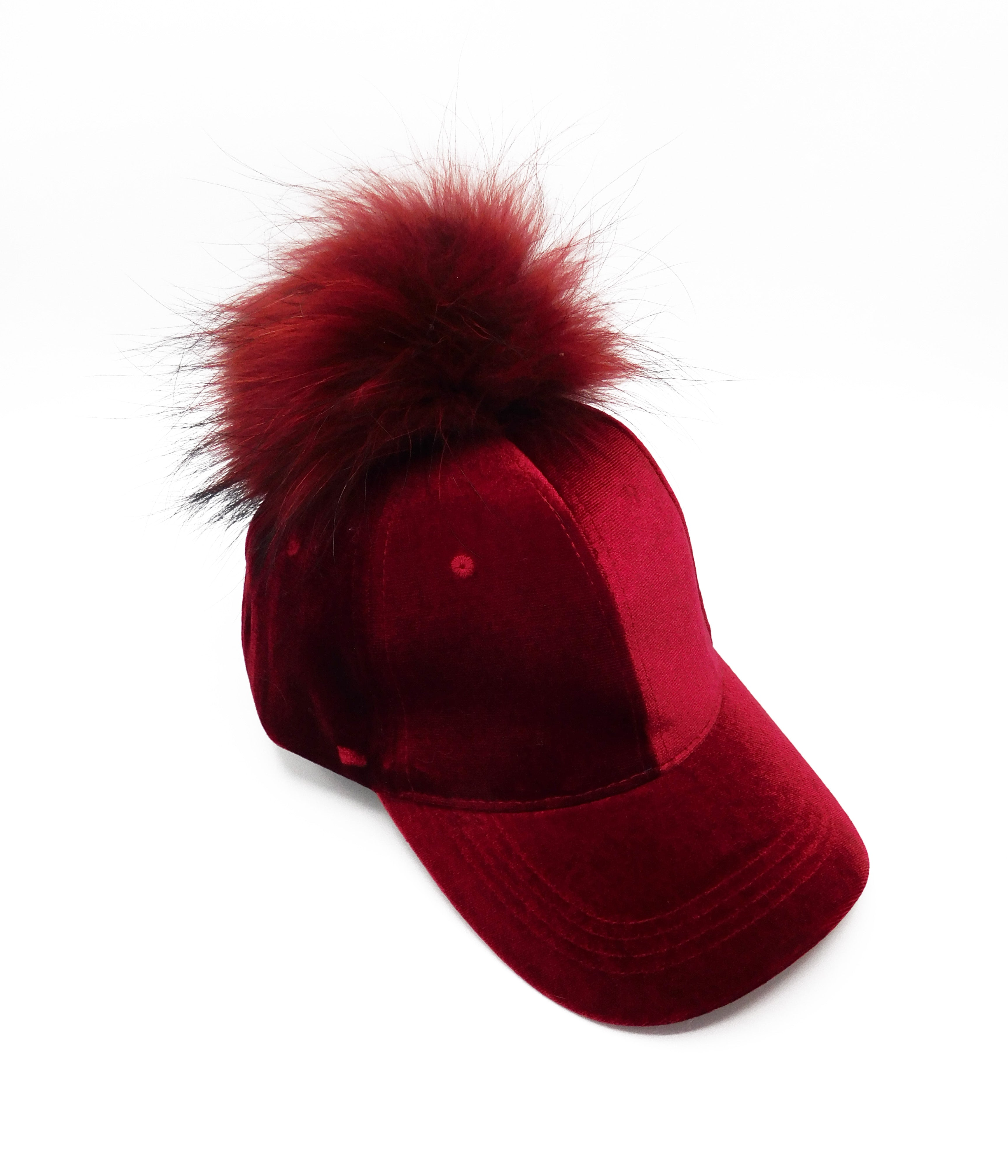 Velvet Caps with Removable Pom Poms - paulamariecollection
