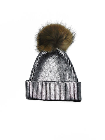 Metallic Beanie with Removable Fur Poms - paulamarie