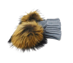 Knitted Beanie with Two Removable Poms - paulamariecollection