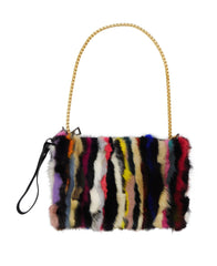 Mink Fur Multicolor Handbag with Metal Chain - paulamarie