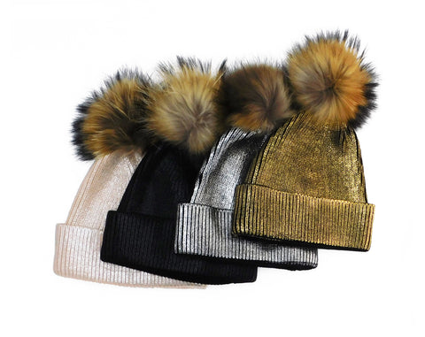 Metallic Beanie with Removable Fur Poms - paulamariecollection