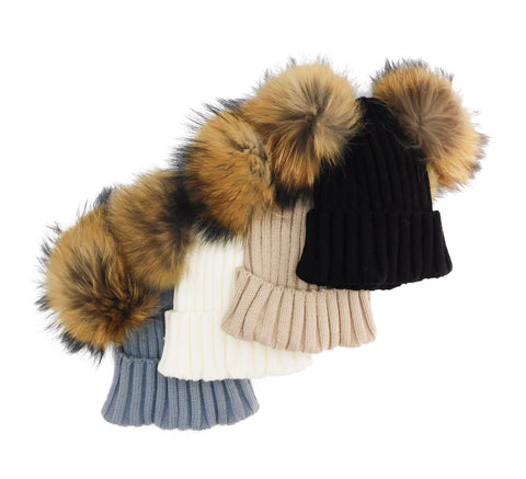 Knitted Beanie with Two Removable Poms - paulamarie