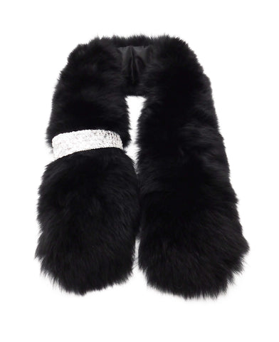 Fox Fur Scarf with Jeweled Pull-Through - paulamarie