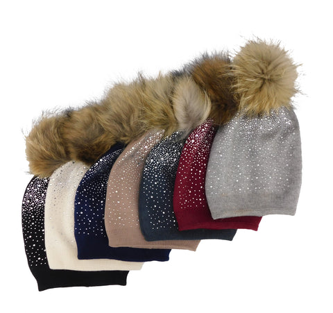 Jeweled Cashmere Pom Beanie - paulamariecollection