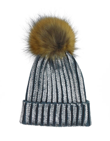 Metallic Striped Knitted Beanie with Removable Fur Poms - paulamariecollection