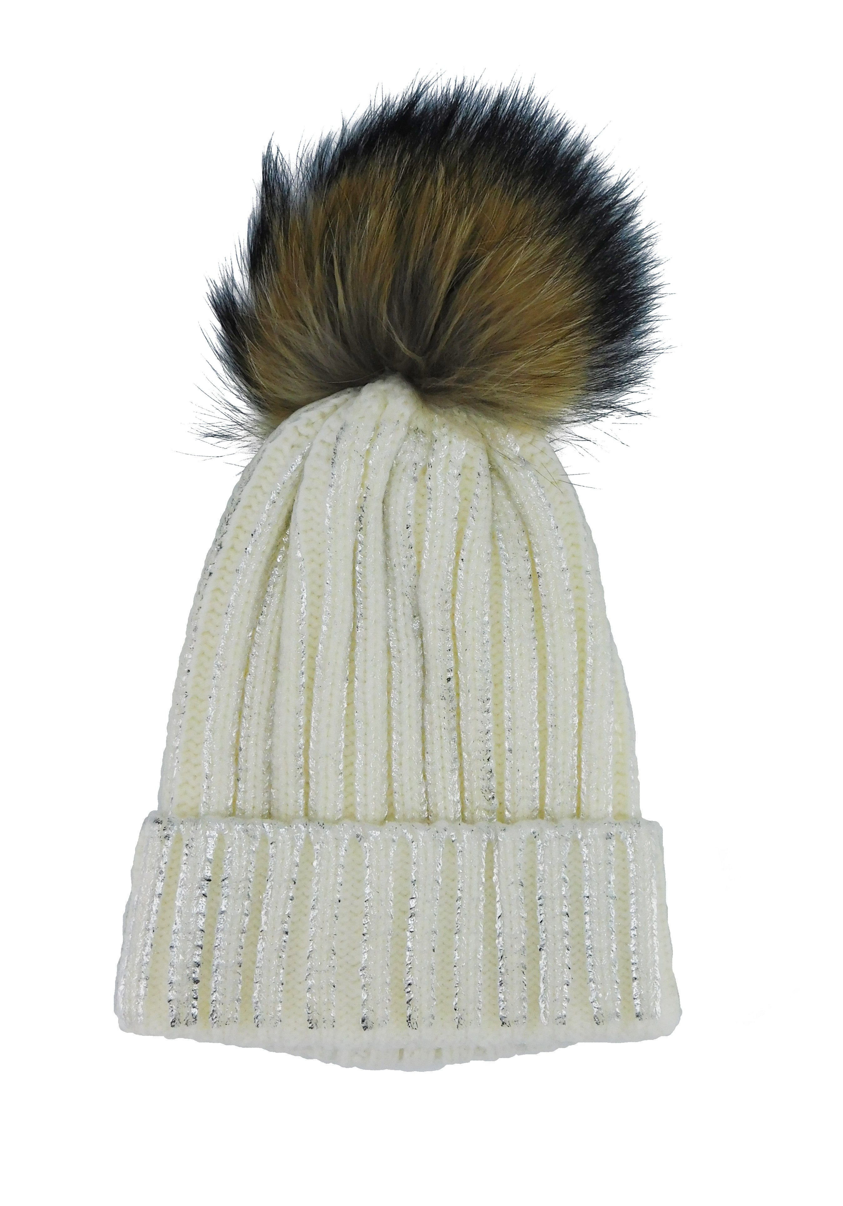 Metallic Striped Knitted Beanie with Removable Fur Poms - paulamarie