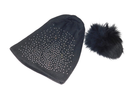 Jeweled Jersey Beanie with Removable Fox Pom In Many Colors - paulamarie