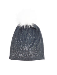 Jeweled Jersey Beanie with Removable Fox Pom In Many Colors - paulamariecollection