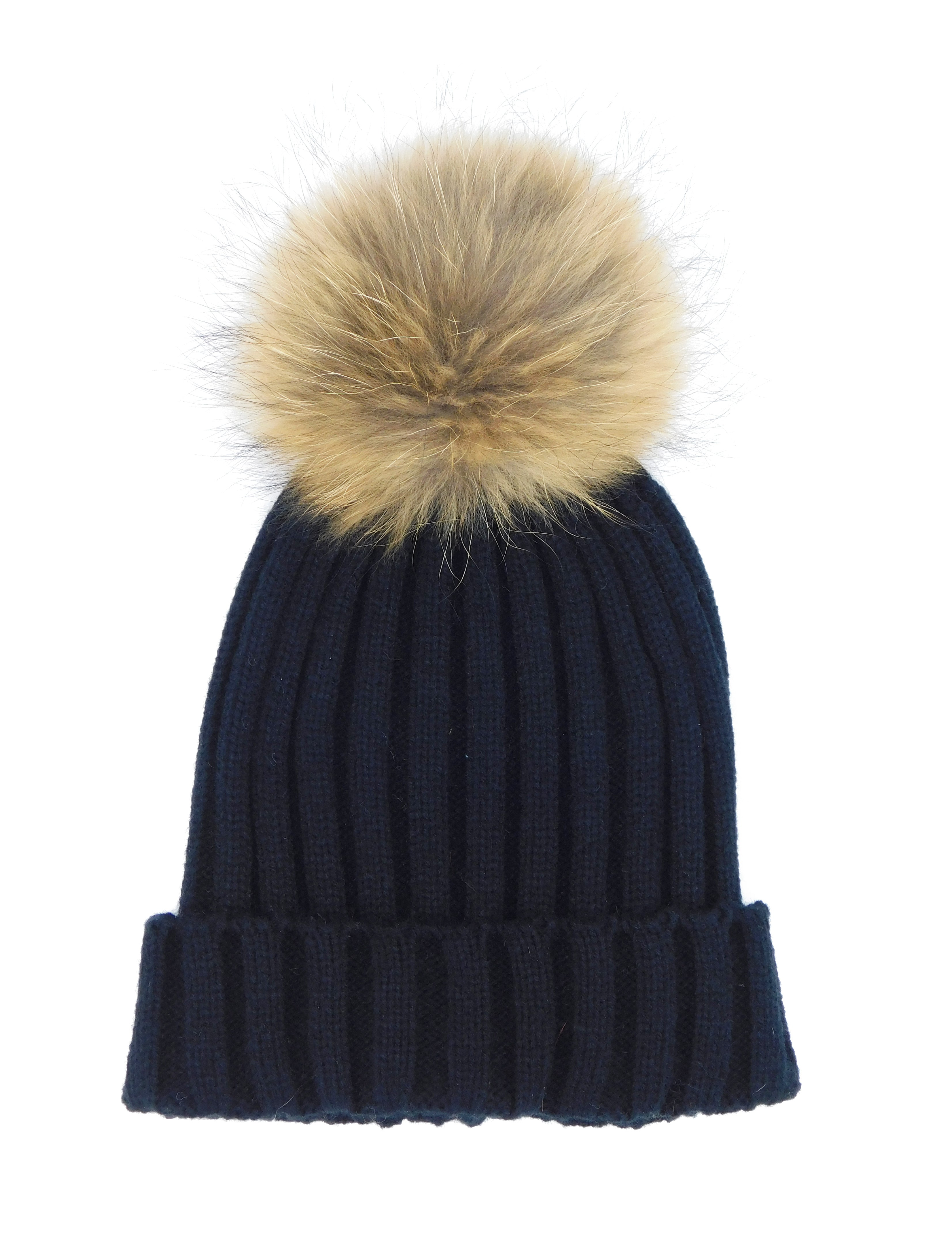 Knitted Beanie with Removable Raccoon Fur Pom - paulamariecollection