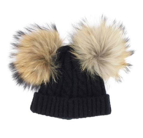 Wool Hat with Two Removable Poms - Kids Size - paulamarie