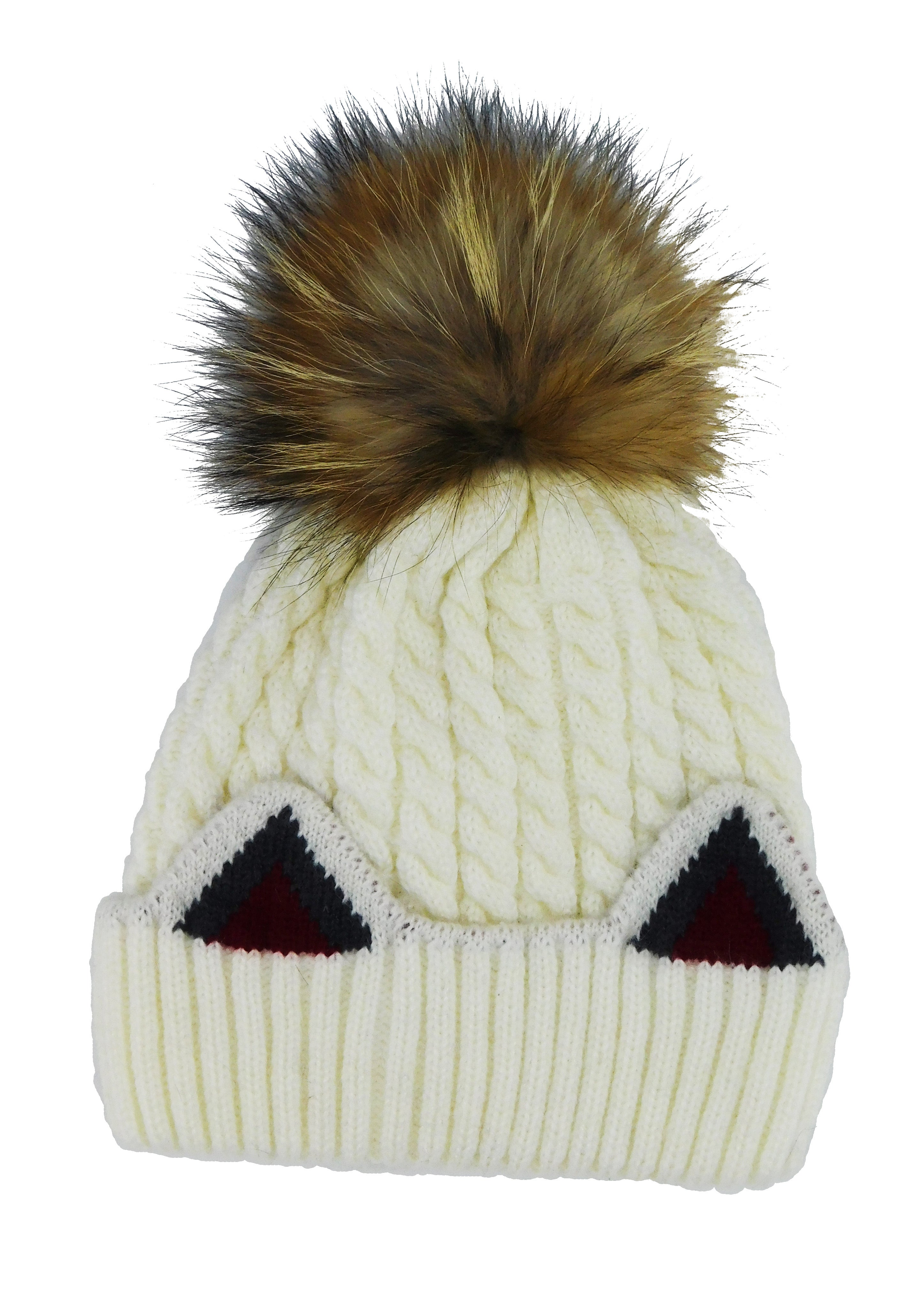 Knitted Cat Ear Beanie with Removable Pom - paulamarie