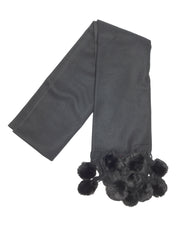 Cashmere Scarf with Rex Rabbit Fur Poms - paulamariecollection