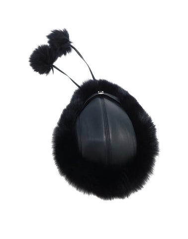 Leather and Fox Fur Pom Hat - paulamariecollection