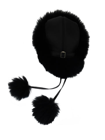 Leather and Fox Fur Pom Hat - paulamarie