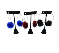 Mink Fur Pom Hoop Earrings - paulamariecollection