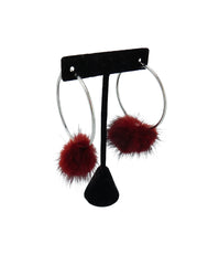 Mink Fur Pom Hoop Earrings - paulamarie