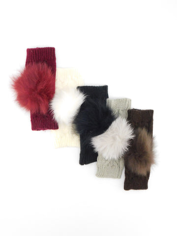 Fingerless Gloves with Fox Fur Pom - paulamarie