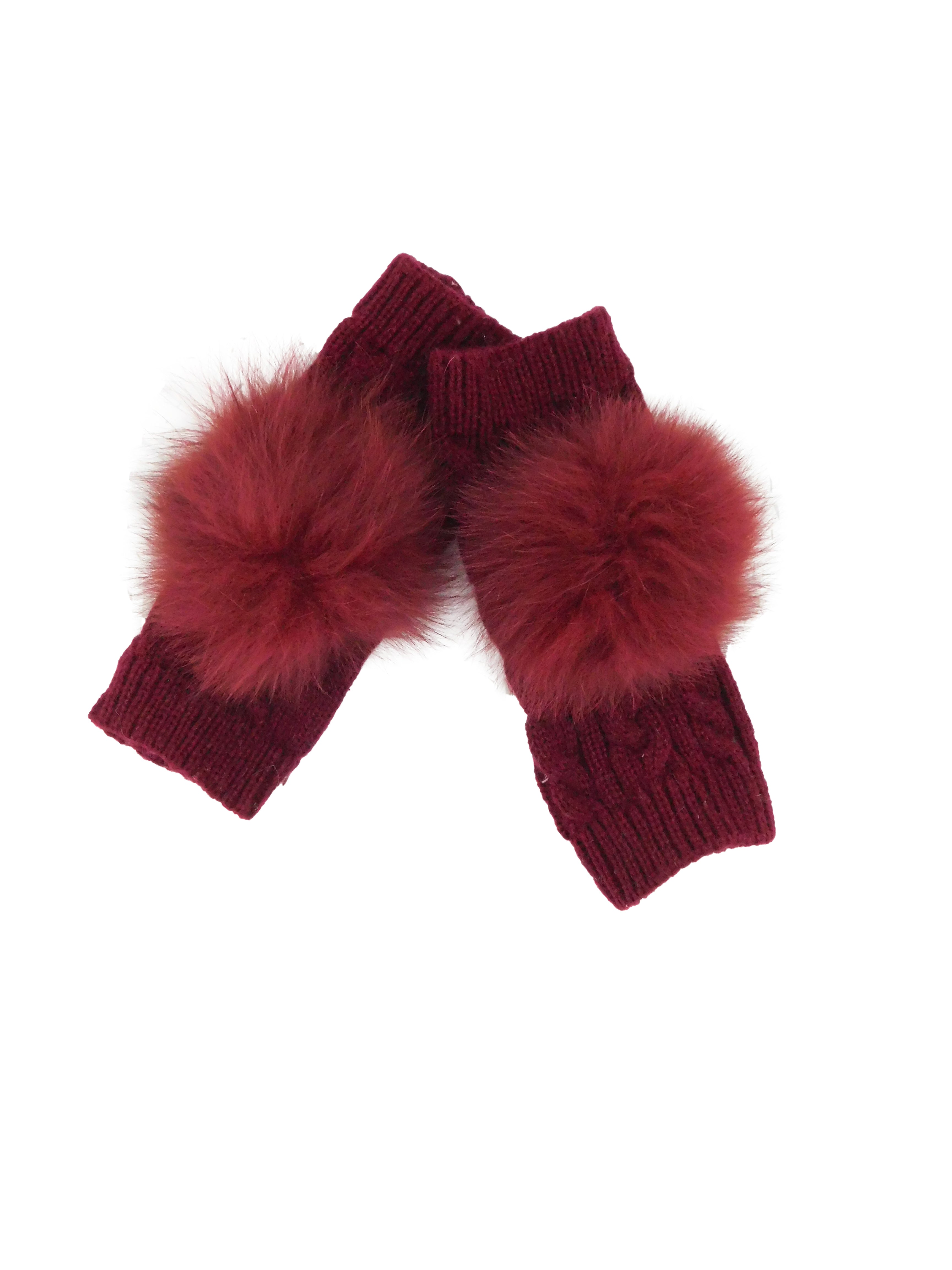 Fingerless Gloves with Fox Fur Pom - paulamariecollection