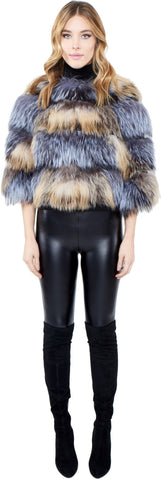 THE HOF Crystal and Silver Two-Tone Fox Bolero - paulamariecollection