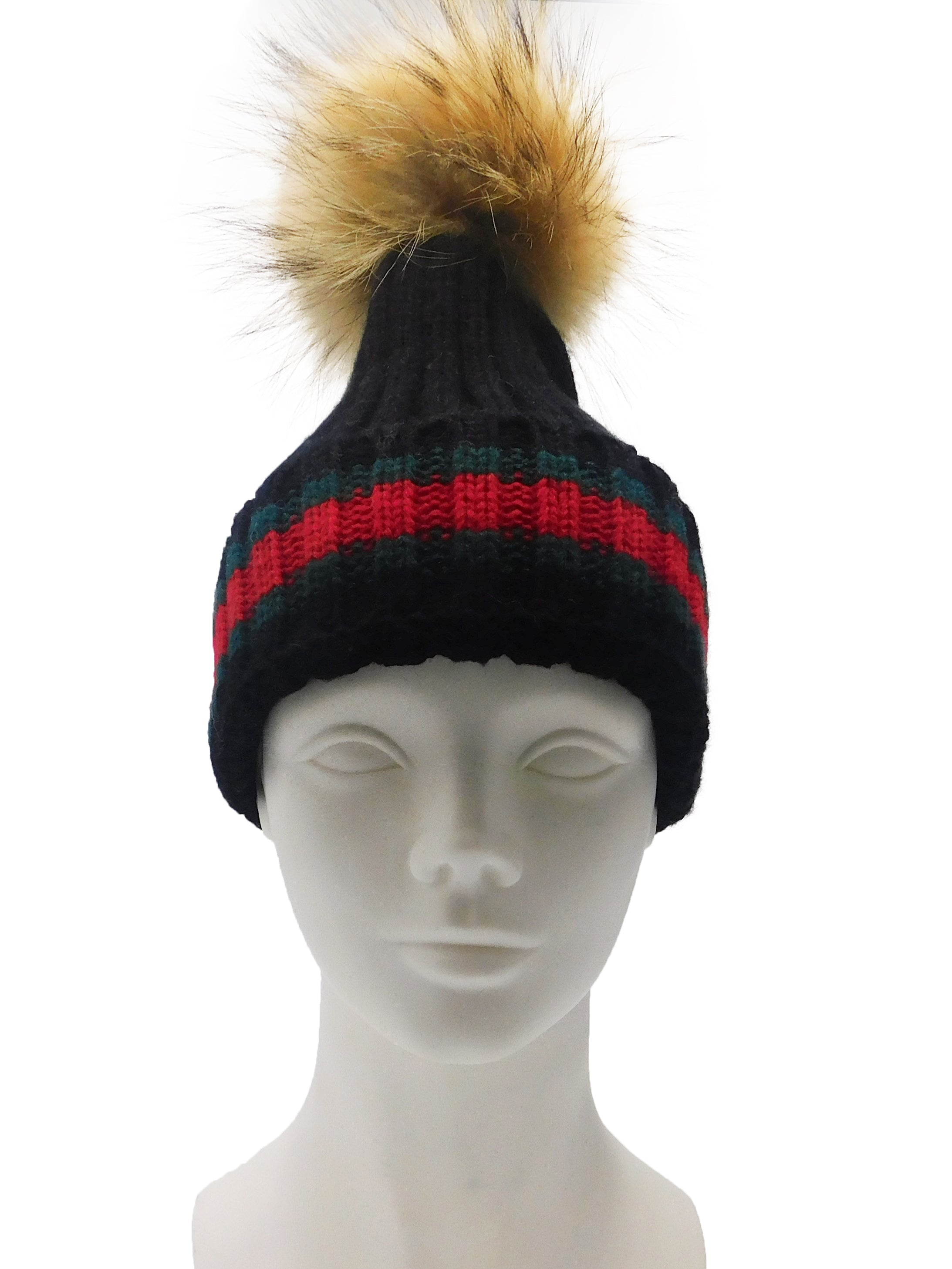 Striped Knitted Beanie with Removable Fur Pom - paulamariecollection