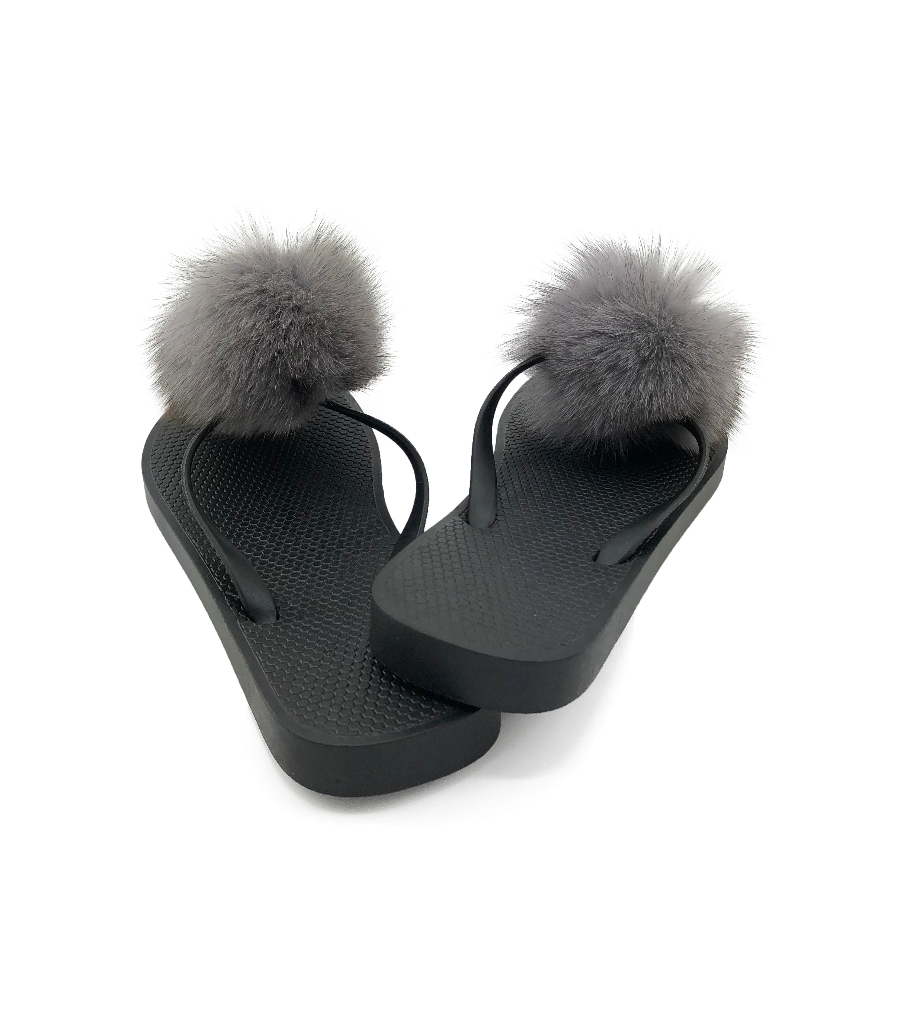 Flip Flops with Removable Fox Fur Poms - paulamarie