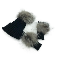 Black Cashmere Fingerless Gloves and Matching Hat with Fox Fur Pom - paulamariecollection