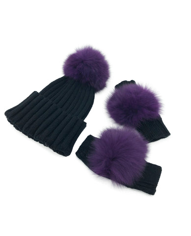 Black Cashmere Fingerless Gloves and Matching Hat with Fox Fur Pom - paulamarie