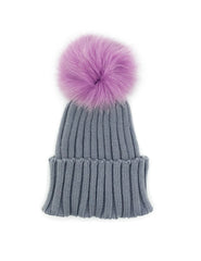 Knitted Beanie with Dyed Fox Fur Pom - paulamarie