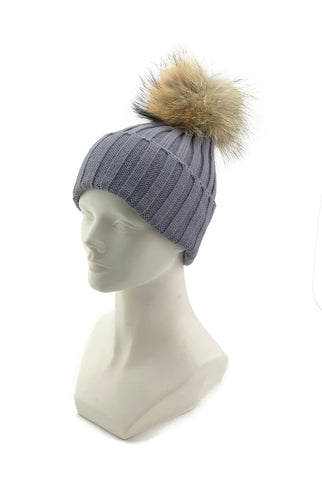 Knitted Beanie with Removable Raccoon Fur Pom - paulamarie