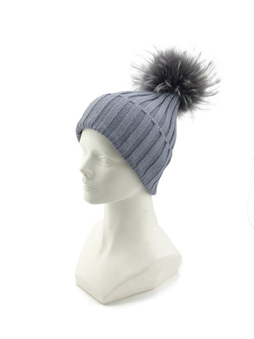 Knitted Beanie with Removable Fox Fur Pom - paulamarie