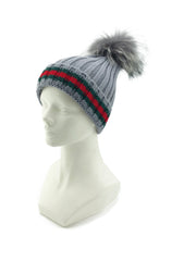 Striped Knitted Beanie with Fox Fur Pom - paulamariecollection