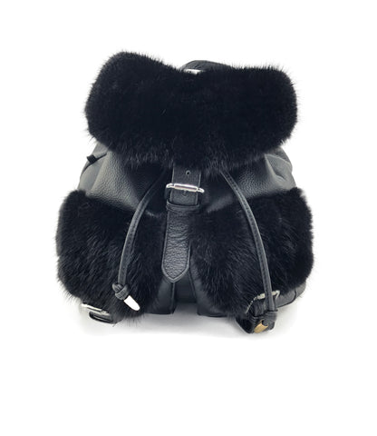 Black Mink and Leather Backpack Purse - paulamariecollection