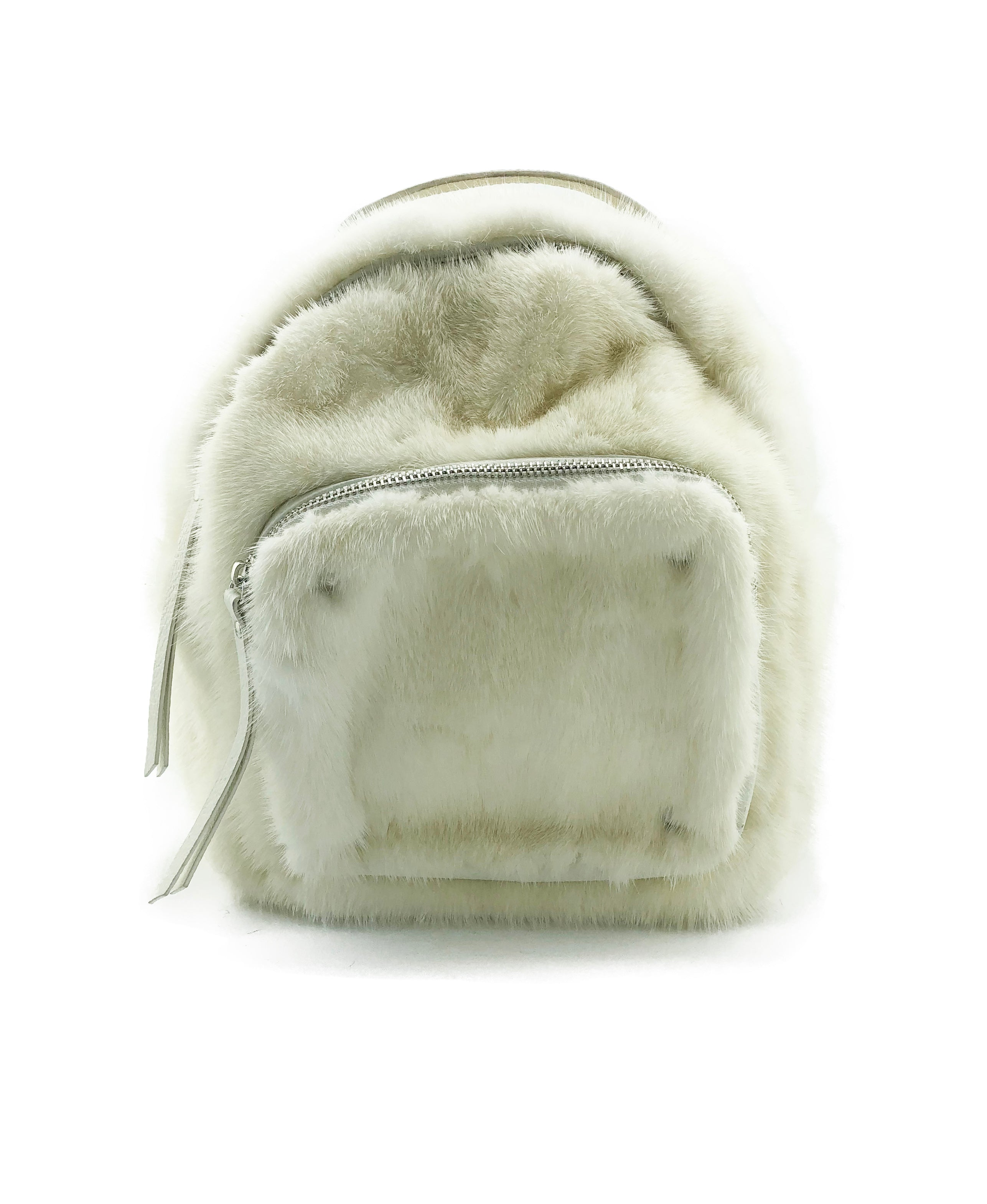 White Mink and Leather Backpack Purse - paulamariecollection