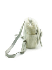 White Mink and Leather Backpack Purse - paulamarie