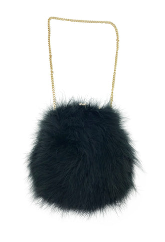 Feathered Handbag with Chain Strap - paulamariecollection
