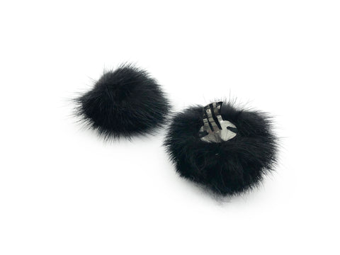 Mink Fur Pom Pom Shoe Clips - paulamariecollection