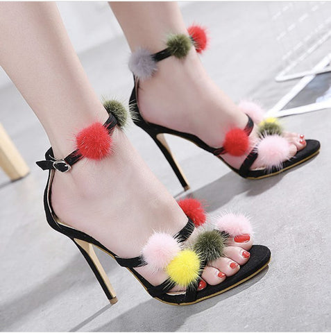 Mink Fur Pom Heel Strap Bands - paulamariecollection