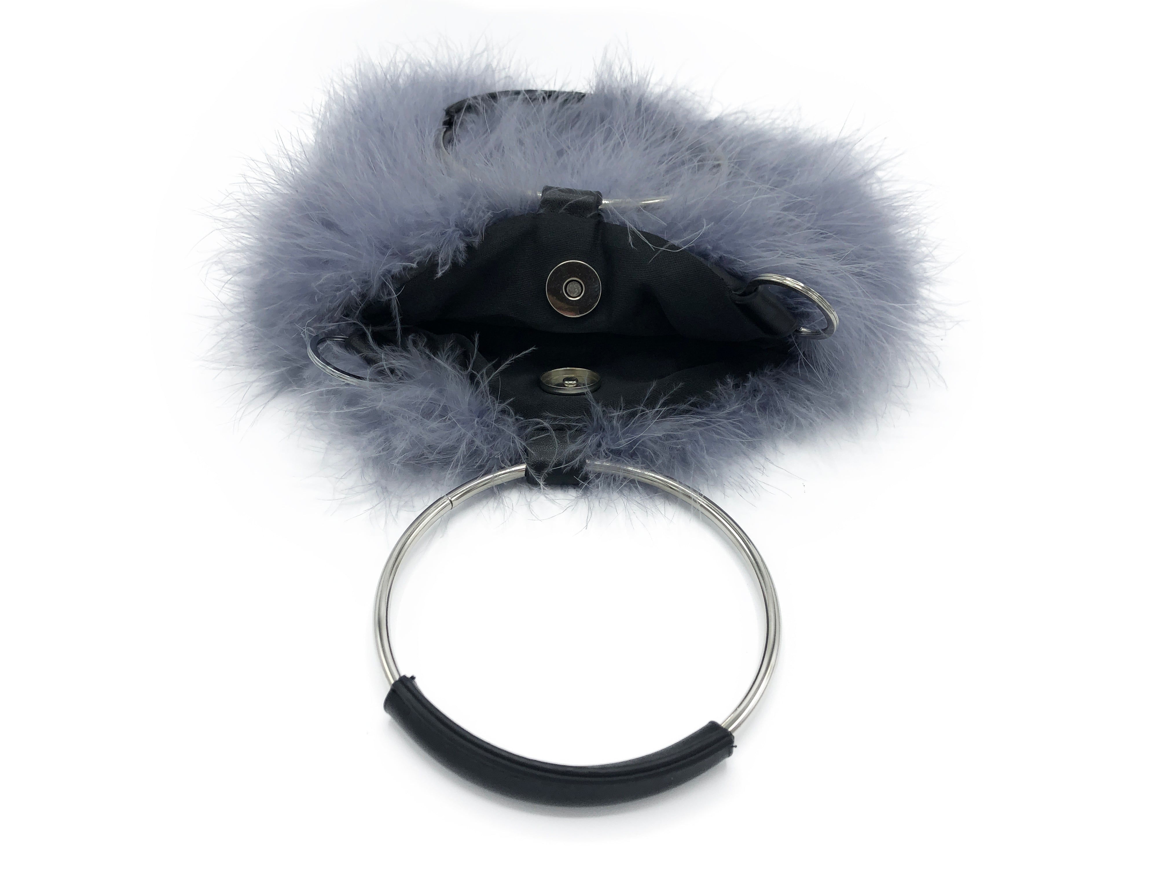 Feathered Handbag with Hoop Handle and Chain - paulamariecollection