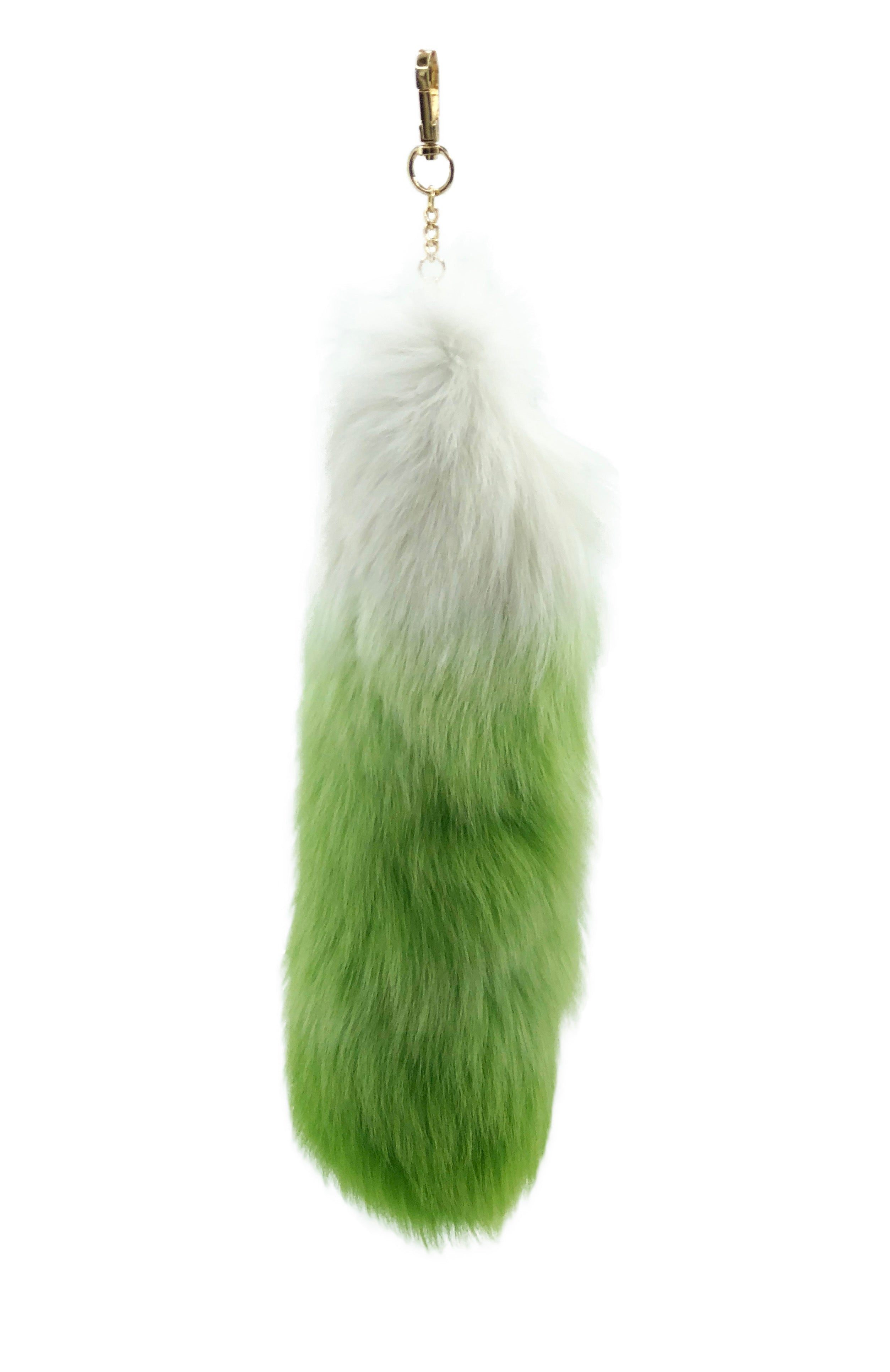 Green and White Clip-on Fox Tail Keychain - paulamarie