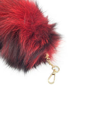 Red Clip-on Fox Tail Keychain - paulamariecollection