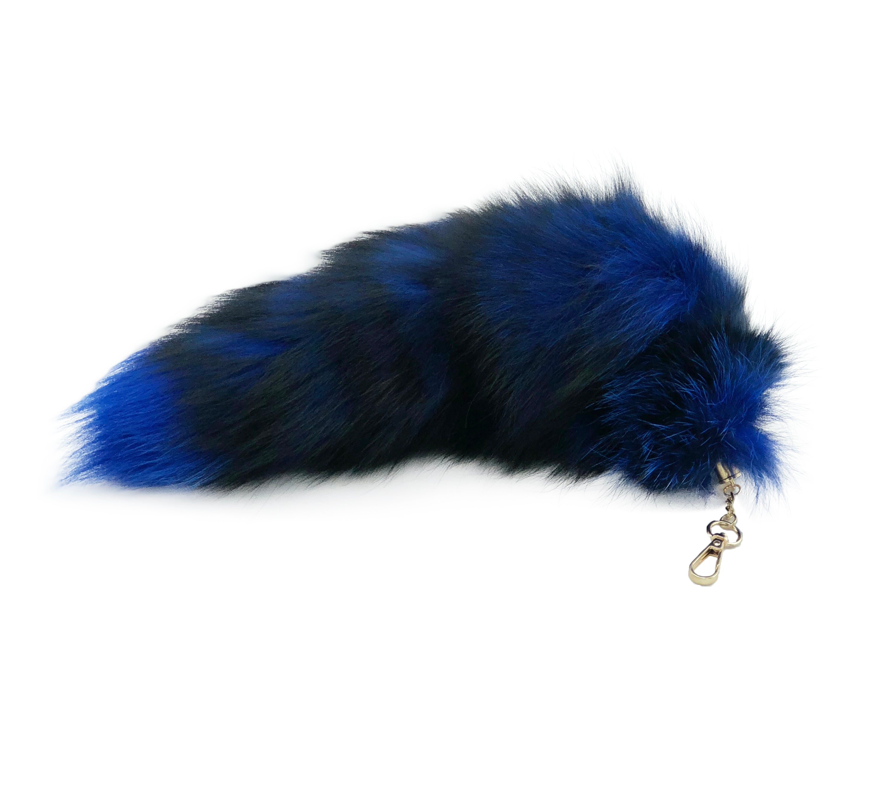 Blue Clip-on Fox Tail Keychain - paulamarie