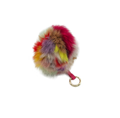 Multicolor Fox Fur Pom Pom Keychain - paulamariecollection