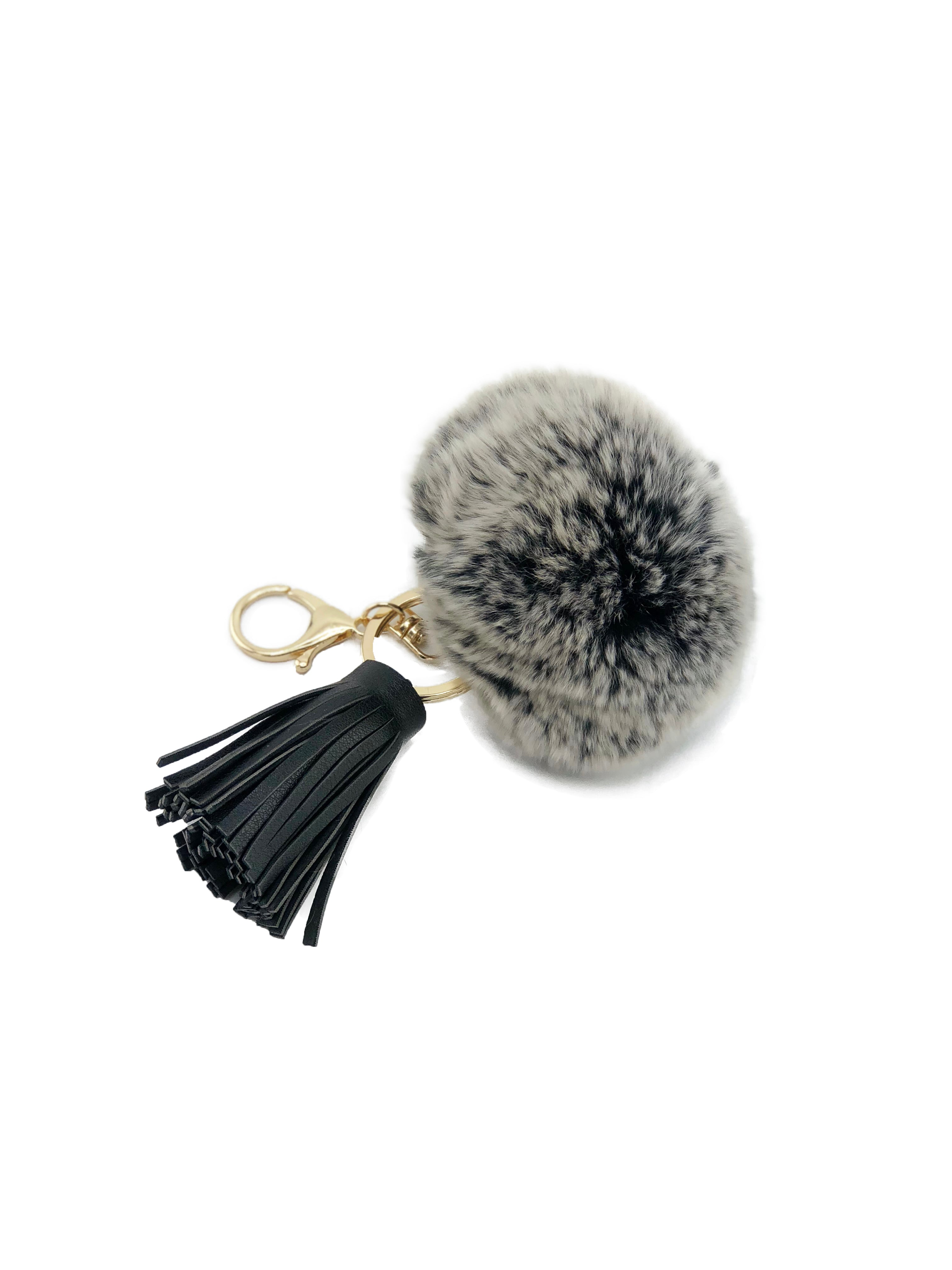 Rex Rabbit Pom Keychain with Leather Tassels - paulamariecollection
