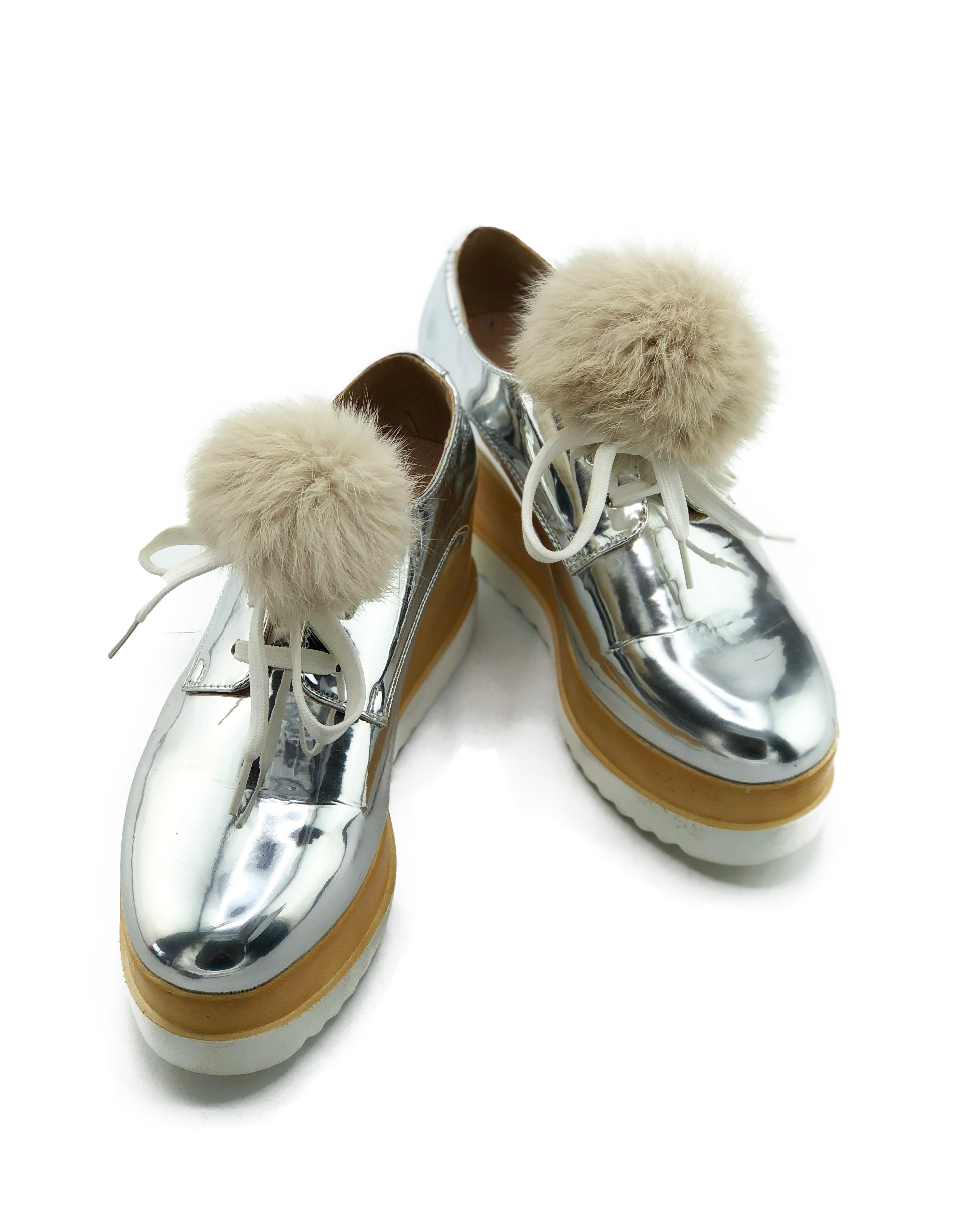 Rex Rabbit Fur Pom Shoe Lace Bands - paulamarie