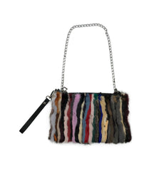 Mink Fur Multicolor Handbag with Metal Chain - paulamariecollection