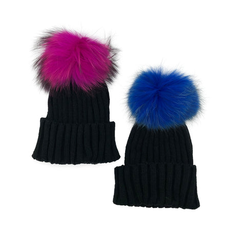 Knitted Beanie with Removable Dyed Fur Pom - paulamarie