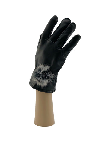 Leather Look Gloves with Fox Fur Pom - paulamariecollection